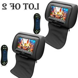 "2) Pyle PL74DBK 7"" Hi-Res Headrest Video Display Monitor Bui"