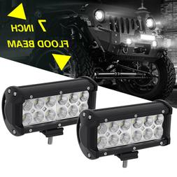 2x 7INCH 36W LED WORK LIGHT BAR Flood OFFROAD ATV FOG TRUCK
