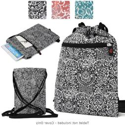 6 - 8 inch Tablet Paisley Protective Drawstring Backpack Cas