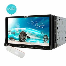 EinCar Android 5.1 Double Din Car DVD Player 7 Inch Capaciti