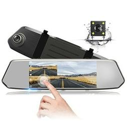 "Backup Camera 7"" Mirror Dash Cam Touch Screen 1080P Rearview"