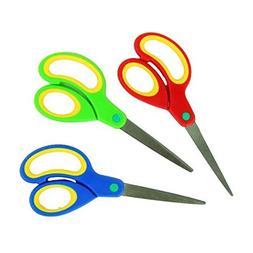 Bright Red, Blue, and Green Colored Scissors, 7 Inches, 3 In