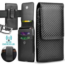 Cell Phone Holster Vertical Pouch Leather Wallet Case with B