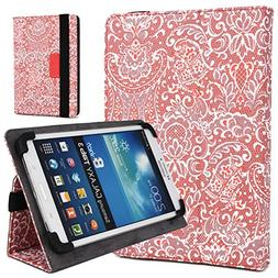 Coral Red/White Paisley Print Case Fits Samsung Galaxy Tab 4