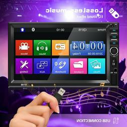 """Double 7"""" Inch Car Stereo Radio HD Touch Screen Mp5 Player B"""