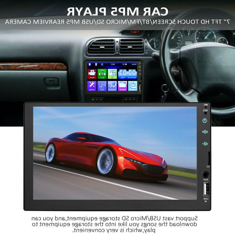 "2 7"" Double MP5 Player Bluetooth Touch Stereo Radio Camera"