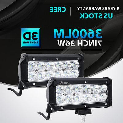 2x 7inch 36w led work light bar