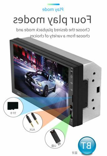 "7"" Car Player Bluetooth Screen Double 2DIN Stereo + Camera"