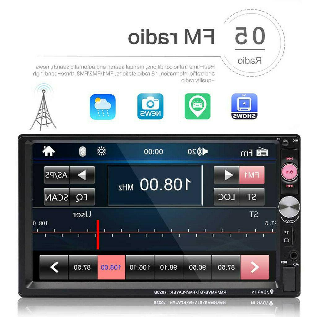 7 Double 7023B 2 DIN Car FM Stereo Touch Bluetooth