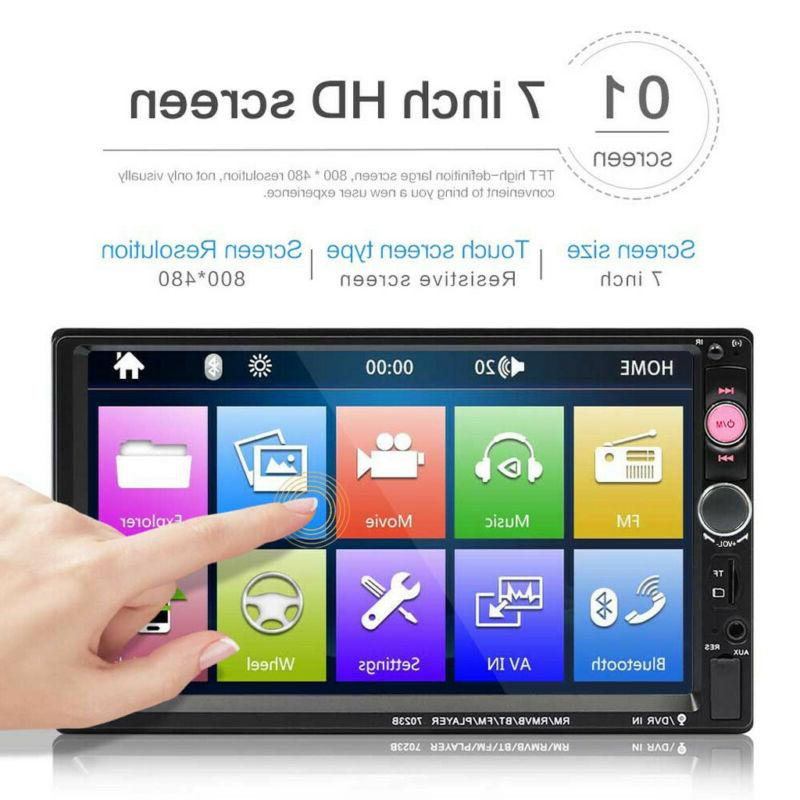 7Inch Double 2 DIN Stereo Radio Bluetooth PP