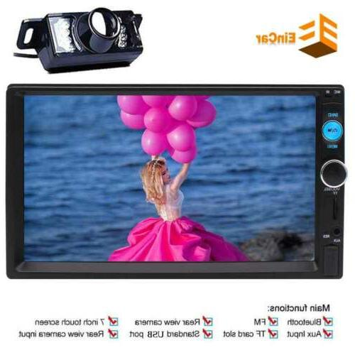 7Inch Digital Capacitive Touch Screen HD FM Radio Double Din Stereo + Camera