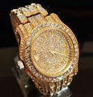 Men Hip Hop Iced out Gold  Simulated Diamond Rapper Watch