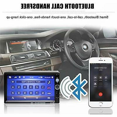 Double Stereo In-Dash Bluetooth Touch Screen 7 Rear-View Radio