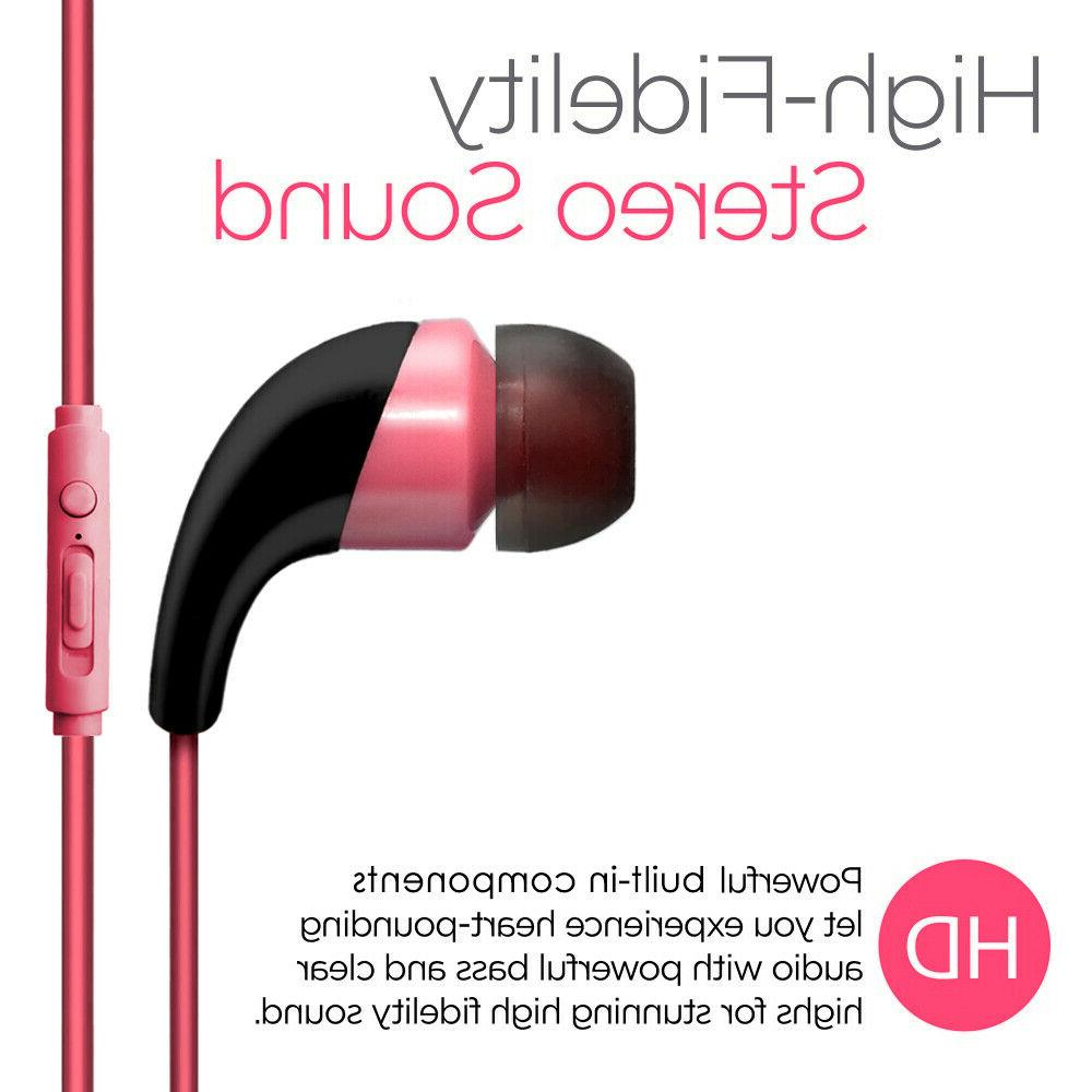 Pink Color 3.5mm Earphones Handsfree Control with Mic. Stereo