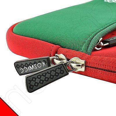 Kozmicc Red/Green Dell 7 Sleeve Bag Case Cover