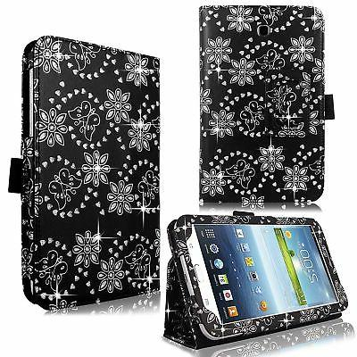 For Samsung Galaxy Tab 3 4 Bling Glitter PU Leather Case Fli