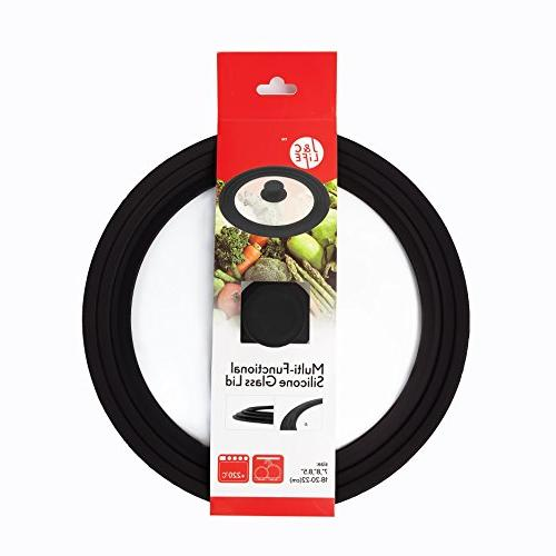 """J&C Universal Rim and Tempered Lid Graduated Fits 8"""" and 8.5"""" and Pans,Black"""