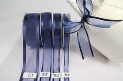 Navy Blue Organza Ribbon With Satin Edge-25 Yards X 7/8 Inch