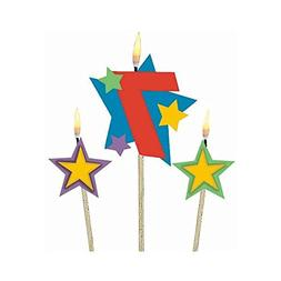 Party Time Stars and Number 7 Celebration Candle on a Stick,