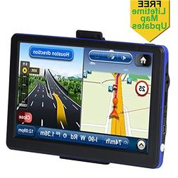 Portable Car GPS, 7 inch 8GB Spoken Turn-by-Turn Vehicle GPS