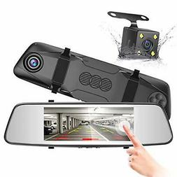 "FREE SHIPPING! 7"" Rearview Mirror Touch Screen Dash Cam Fron"