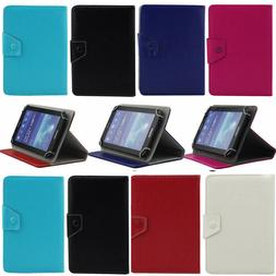 """Universal Adjustable Leather Folio Case Cover For 7"""" 7 Inch"""